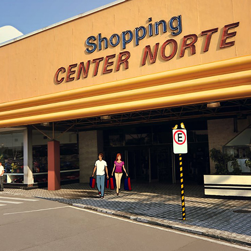 "Facade of a shopping center with 2 floors. At the street level, a couple with shopping bags exit through a large access door. At the top, a large, wide yellow wall has luminous signs with the words ""Shopping"" in dark blue above and ""CENTER NORTE"" in red below."