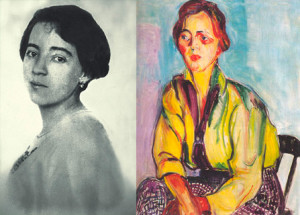 Image shows two paintings, both self-portraits of Anita Malfatti. On the left, in black and white, looking like a photograph, she is on her side, from the chest upwards with face facing forward. On the right, well-colored, with less elaborate features, she sits on a chair.