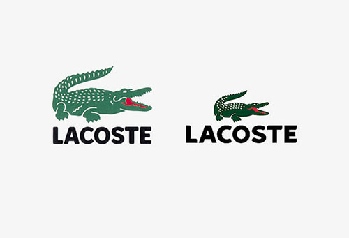Figure shows the Lacoste brand logo in 2 sizes on a white background, the one on the left being slightly larger than the one on the right. The logo consists of the design of a green alligator with tail to the side and mouth wide open, showing the internal side in strong red.