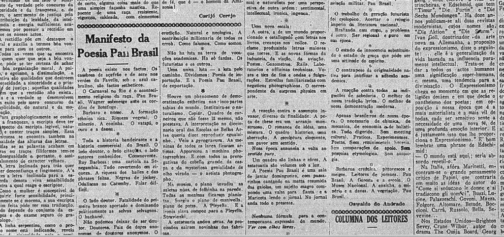 "Black and white photo. Part of the page of a newspaper, highlighting the article ""Manifest of Poesia Pau Brasil""."