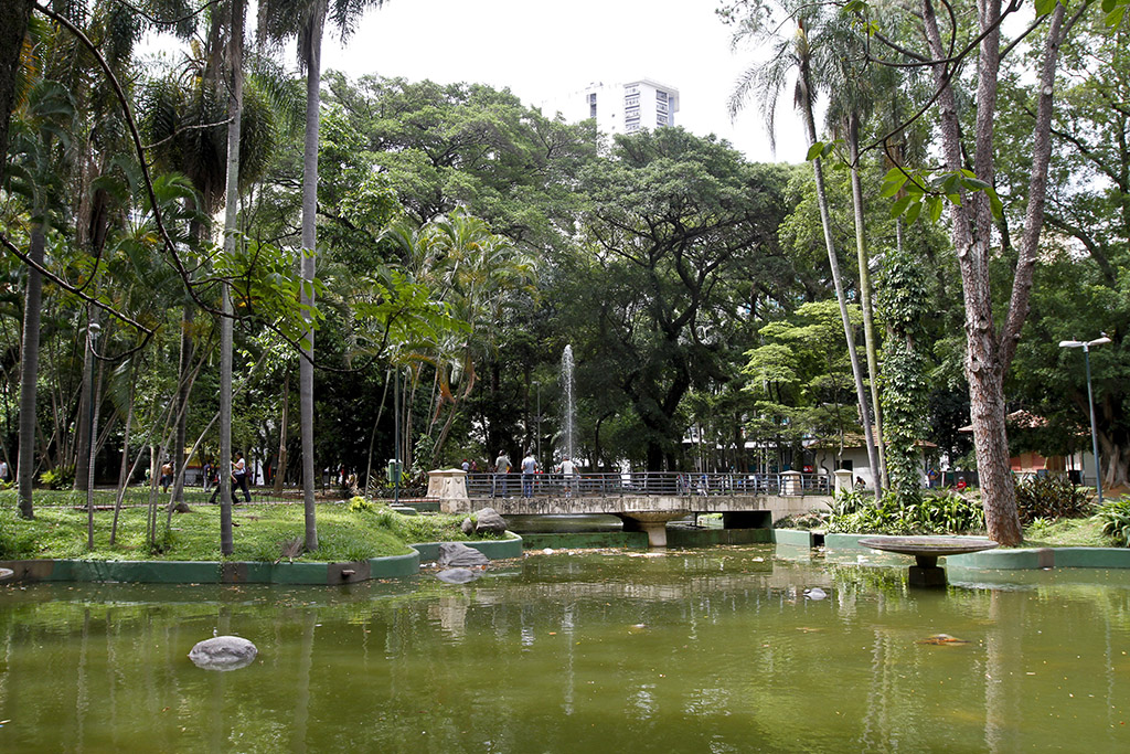 In the foreground, small lake with greenish water. On the side banks, lawned gardens with shrubs and some medium-sized trees. In the center, small concrete bridge with gray iron railings, where some people pass. In the background, garden with many large trees.